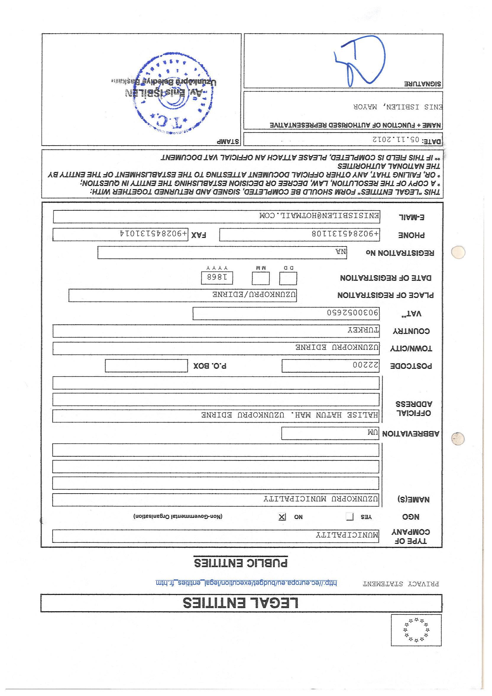 Legal Entity Sheet